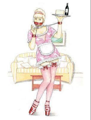 sissy maid in pink sissy dress srving wine and cake