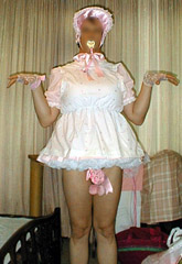 picture of white adult baby sissy dress and bonnet with pink bow on sissy ...