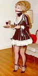 ball gagged sissy maid serving
